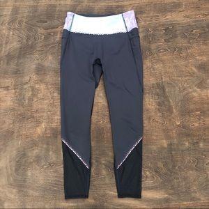Ivivva Lululemon Girls Leggings mesh Gray Pink 14